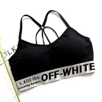 Off-White Women Fashion Sport Yoga Underwear Bralette Brassiere Bra
