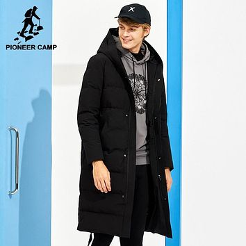 Pioneer Camp new arrival long thicken down jacket men brand-clothing solid hooded warm 80% white duck down coat male AYR705305