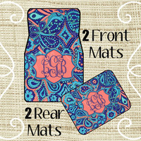 Custom Personalized Set of Car Floor Mats - Front and or Rear Back, Monogrammed Car Mats, Paisley LP Inspired