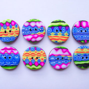 Trippy Polymer Clay Buttons, 3/4 inch, bright colors, set of 8