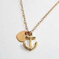 Gold Anchor necklace, small anchor necklace, tiny ancor, hope necklace, nautical jewlery, nautic necklace, gold initial necklace, gift