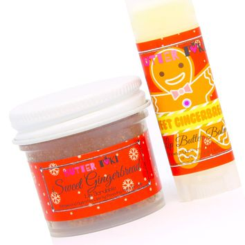 SWEET GINGERBREAD Lip Scrubbie and Lip Balm with SPF 15 Combo Holiday Collection 2017
