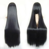 "Cool2day® 40"" Long Straight Hair Costume Play Party Full Wig+Wig Cap (Black) JF66"
