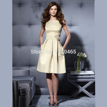 Knee Length Cocktail Dress Party Dress with Flowers Short Prom Dresses Robe de Cocktail Courte Cheap Dresses