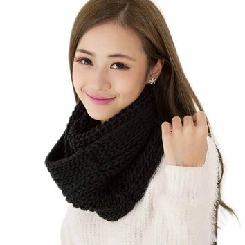1PC Fashion Women Men Winter Warm Infinity Circle Soft Knitting Wool Knit Cowl W\inter Warm Neck Scarf 2016 Hot 10 Colors