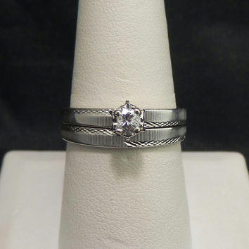 Vintage Solid 14K White Gold .17 ct Diamond Solitaire Engagement Wedding Set Ring - Size 9