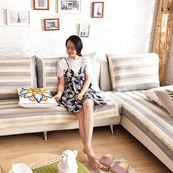 Sofa Slipcover cover Fashion couch cover Grey cover sofa modern style brown beige Printing Soft Seat Cotton and linen thin sofa