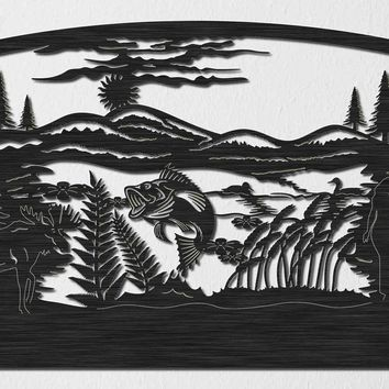 Lake of Fish and Loons with Hills, Moose and Trees Insert