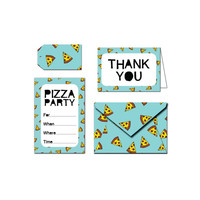 Printable Party Invitation Set - Pizza Party - Blue / Green / Black