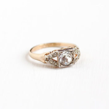 Vintage Art Deco Sterling & RGP Rhinestone Ring - 1930s Size 6 3/4 1930s Faux OEC Diamond Engagement Style Two Tone Jewelry
