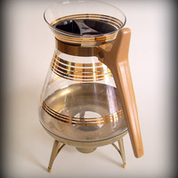 Mid Century Coffee Carafe Glass with Candle Flame Warmer