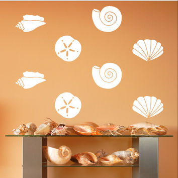 Sea Shells Variety Set of 19 Vinyl Wall Decals 22579