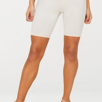 Cream Cotton Stretch Cycling Shorts