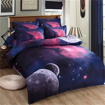 New 4/3pcs Galaxy 3D Bedding Sets Universe Outer Space Duvet cover Bed Sheet / Fitted Bed Sheet pillowcase Twin queen king