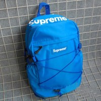 Supreme Fashion Unisex Outdoor Sport Laptop Bag Double Shoulder School Bag Backpack Blue
