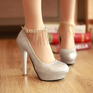 Women pumps shoes red paillette thick heel ultra high heels button silver gold bridesmaid bride wedding shoes size 34-43