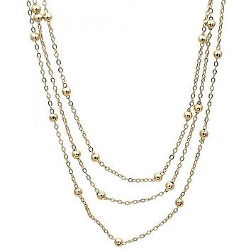 Gold Layered 04.319.0001.16 Fancy Necklace, Polished Finish, Golden Tone