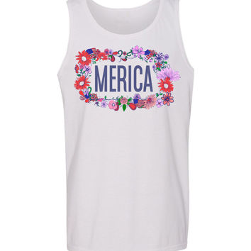 Floral 'Merica Crown Tank Top