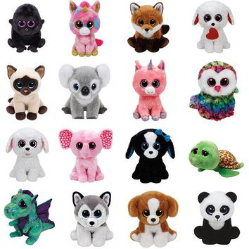 TY BEANIE BOOS 1PC 25CM Plush Toys tiwggy owl zippy turtle flippy fish georger gorilla whisker dog kipper kangaroo fantasia