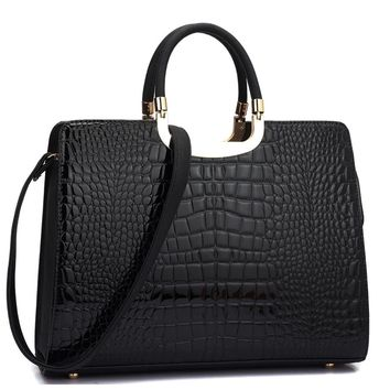 Black Patent Style Faux Alligator Handbag