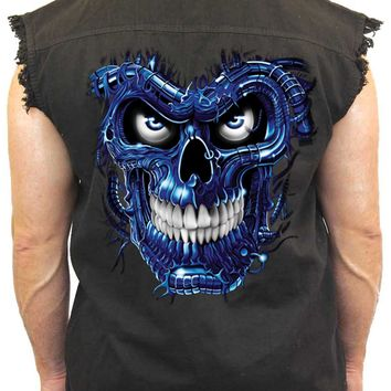Men's Sleeveless Denim Shirt Blue Robotic Skull Biker