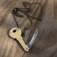 Brass Key Pocket Knife Necklace