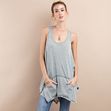 Twisted Back Tunic - Faded Olive