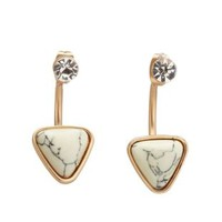 Gold Marbled Howlite & Rhinestone Ear Jackets by Charlotte Russe
