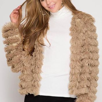 Faux Fur Jacket - Mocha