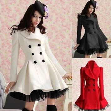 Lolita Wool Dress Coat White/Black/Red = 1930410692