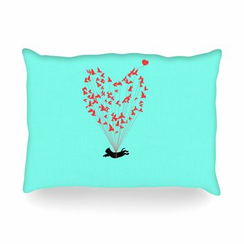 "BarmalisiRTb ""Flying Cat"" Black Red Digital Oblong Pillow"