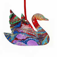 Hand Marbled Swan Christmas Ornament Wood Craft Holidays Home Decor