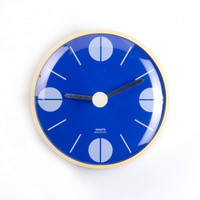 Mid Century Modern Wall Clock - Pop Art  Blue & White 60's 70's design -  KRUPS, Germany