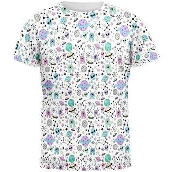 PEAPGQ9 Outer Space Aliens Pattern All Over Mens T Shirt