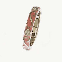 Adorable Designer Inspired Swirl Design Pink Enamel With Rhodium Overlay Ring. Ring Can Be Worn Alone Or Paired With Fashion Colors. Rhodium Plated To Prevent Tarnishing.