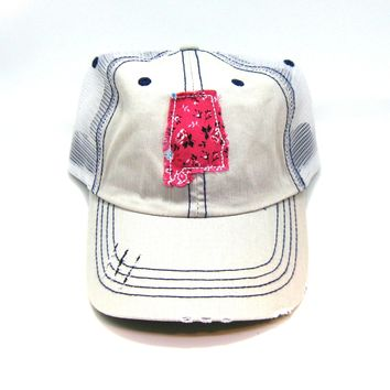 Alabama Trucker Hat - Distressed - Floral Fabric State Cutout