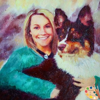 Woman with Australian Shepherd Dog Custom Oil Portrait 597