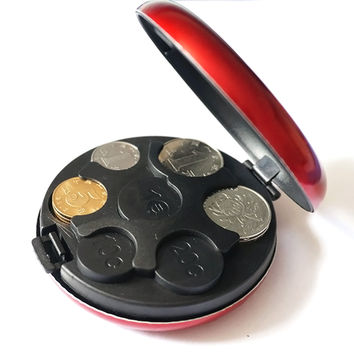 New Round Euro Coin Dispenser Storage Coins Purse Wallet Holders Storage Box Aluminum Alloy+ Plastic Coins Purse Wallet BTC117
