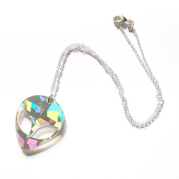 90s HOLOGRAPHIC ALIEN Acrylic Pendant Choker Necklace: Choose your necklace style!