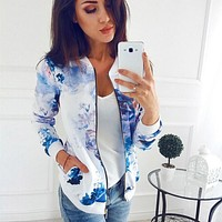 Autumn Jacket Women 2017 New Arrival Floral Print Long Sleeve Jumper Zipper Short Baseball Jackets Reversible Sukajan Blue Pink