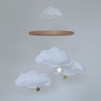 Cloud And Star Baby Mobile White And Gold