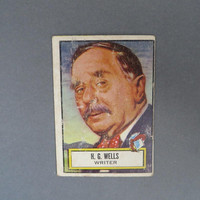 1952 TOPPS Look 'n See H. G. Wells, Card No 119, Famous Writers Series