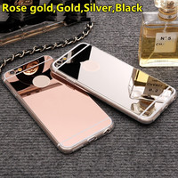 "Rose gold Luxury Mirror Soft Clear TPU Case For iPhone 7 Plus 6 6S 4.7 inch & iPhone6 Plus 5.5"" & SE 5s 5 Cover Back"
