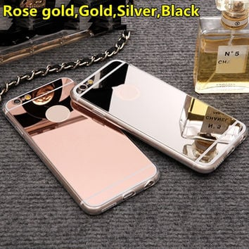 Luxury Mirror Soft Clear TPU Case For iPhone 7 7Plus & iPhone 6 6 Plus 5se 5s 5 Cover Back