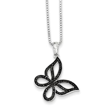 Black Diamond 21mm Butterfly Rhodium Plated Sterling Silver Necklace