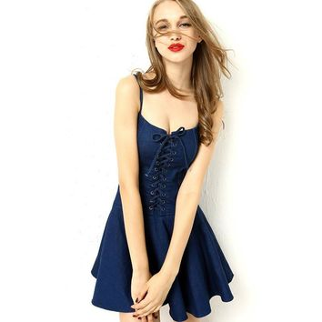 Design Stylish Strong Character Summer Shaped Denim Spaghetti Strap Dress Umbrella [8173437255]
