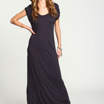 CHARCOAL JERSEY MAXI TEE POCKET DRESS