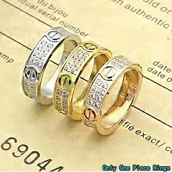 Cartier Classic Fashion Women Men Chic Diamond Couple Ring Jewelry