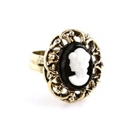 Vintage Cameo Ring -  Gold Tone Adjustable Victorian Revival Costume Jewelry / White on Black Silhouette