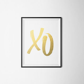 Faux Gold Print XO Love Print Office Art Feminine Girly Print INSTANT DOWNLOAD 8X10